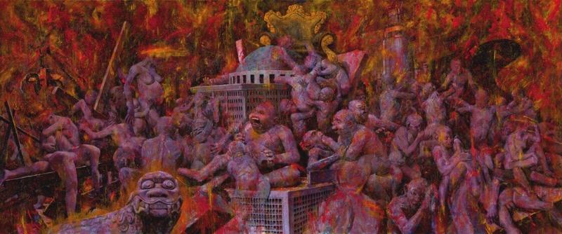 조정태.일상적 풍경- 인간세상 162.1x390.9cm MIxed media 2006~2014.jpg