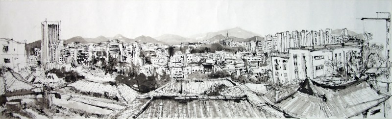 14. A view from Wolsan-dong 34x112cm ink on paper, 2019.jpg