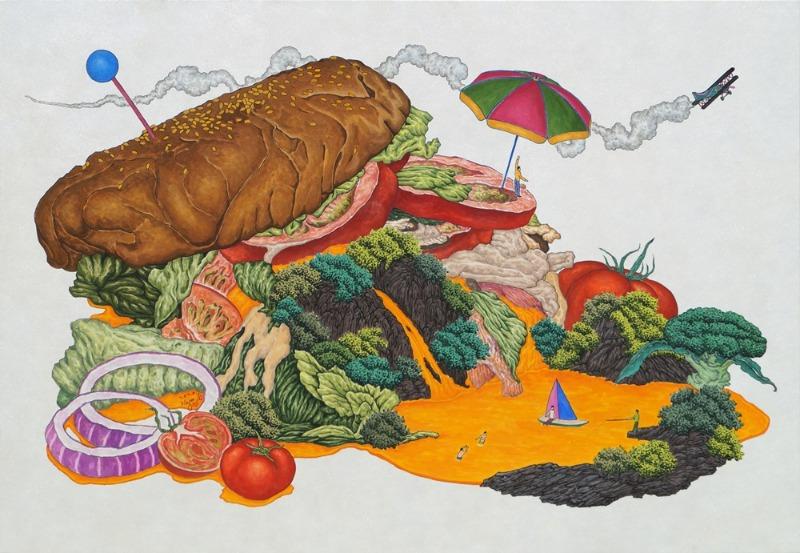 하루.K.맛있는산수(햄버거),한지에수묵채색,70x100cm,2020.jpg