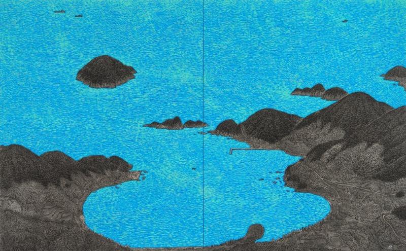 이현열.남해 상주해수욕장 .163x260cm.한지위에 채색.2016.200호.jpg