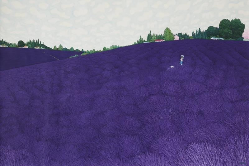 이현열.라벤더 언덕2021-2 .160x240cm.한지위에 채색.2021.jpg